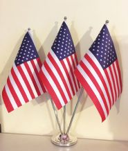 USA - SATIN TABLE FLAG TRIPLE SET